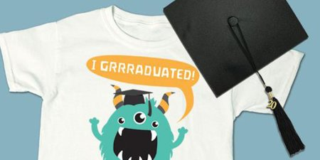 2020 graduation t-shirt with 3-eyed green monster wearing a graduation cap